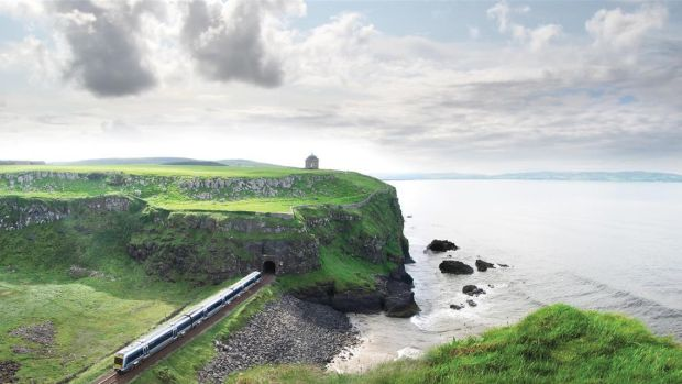 Passing through the tunnel under Mussenden Temple, near Castlerock, Co Derry