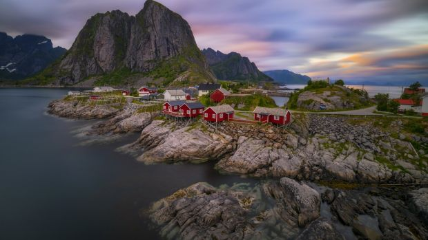 A coastal village en route to the Lofoten islands in the Arctic circle