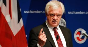 David Davis, Britain's Brexit secretary, speaking at the US chamber of commerce in Washington on Friday. Photograph: Jacquelyn Martin/AP