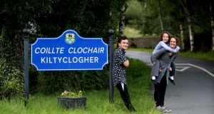 New Kiltyclogher residents Tammy Barrett and her children, Aidan and Jessica. Photograph: Brian Farrell.