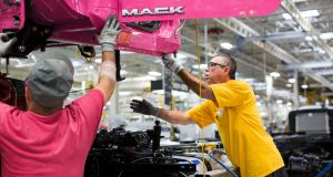 A Mack Truck plant in Macungie, Pennsylvania. Photograph: Jessica Kourkounis/The New York Times