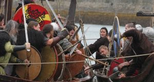 Vikings invade Dún Laoghaire Harbour to celebrate the harbour's bicentenary in August. Housebuilders with expertise are invited to advise on the proposed water-based housing development.  Photograph: Stephen Collins/Collins