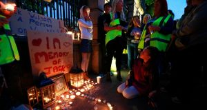 Homeless group 'A Lending Hand' organised a vigil for Jack Watson outside the Dáil. Photograph Nick Bradshaw