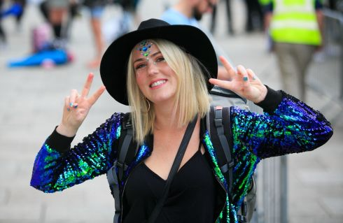 Mary Little from Cabinteely get ready to board a bus for the Electric Picnic festival.