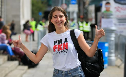 Marica Byrne from Dublin City Centre get ready to board a bus for the Electric Picnic
