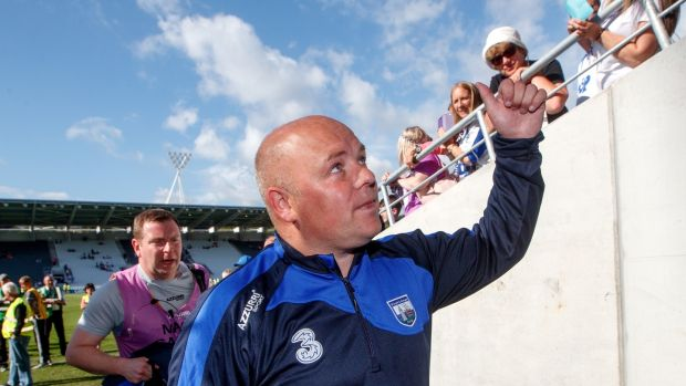 Derek McGrath celebrates the quarter-final win over Wexford this year. Photograph: James Crombie/Inpho
