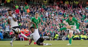 Harry Arter shoots during Ireland's match against Austria in Dublin in June. Photograph: Inpho