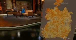 The map of Ireland used to illustrate a piece in which Dr Eva Orsmond spoke about the greater risk of cancer for people who live in deprived areas of the country. Image: Screengrab from RTÉ Player