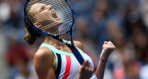 Karolina Pliskova of the Czech Republic celebrates defeating China's Shuai Zhang during their  US Open match at the  Flushing Meadows. Photograph: Jewel Samad/AFP/Getty Images