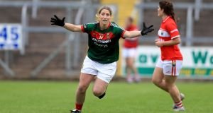 Mayo's Cora Staunton celebrates at the end of the game. Photograph: Donall Farmer/Inpho