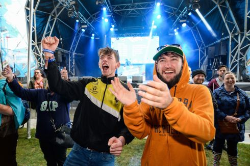 Podge Cronin and Ruaidhi Gallagher from Skibbereen in Co Cork cheer on the dance-off at Electric Ireland's Throwback Stage. Photograph: Cody Glenn/Sportsfile