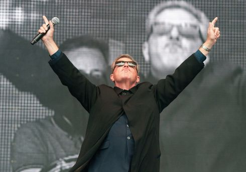 Madness lead singer Suggs on the main stage on Saturday. Photograph: Dave Meehan/The Irish Times