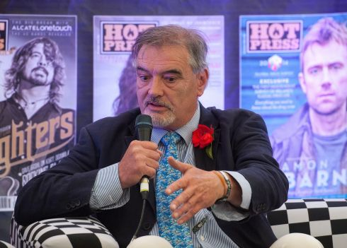 Ian Bailey launching his book of poetry in the Hot Press tent. Photograph: Dave Meehan/The Irish Times