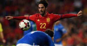 Spain's midfielder Isco eyes the ball during the World Cup 2018 qualifier against Italy at the Santiago Bernabeu. Photograph: Getty Images