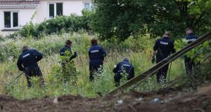 Gardaí searching for the remains of missing man Trevor Deely on a site in Chapelizod, Dublin. Photograph: Nick Bradshaw/The Irish Times