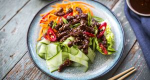 Crispy fried beef salad