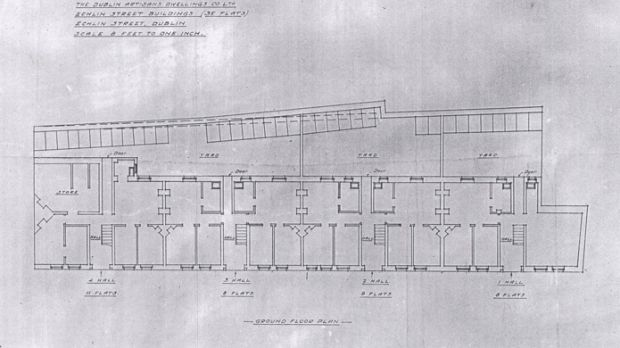 An early plan of the Echlin Buildings, where the killing of Mary Cummins took place. Photograph: Courtesy of the Irish Architectural Archive