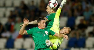 Shane Duffy puts Ireland in front in the fourth  minute of the game with a header against Georgia.  Photograph: David Mdzinarishvili/Reuters
