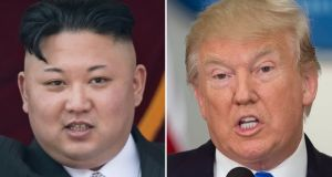 North Korean leader Kim Jong-un and US president  Donald Trump. A TV announcement said the nuclear test had been ordered by Kim. Photograph: Saul Loeb/AFP/Getty Images