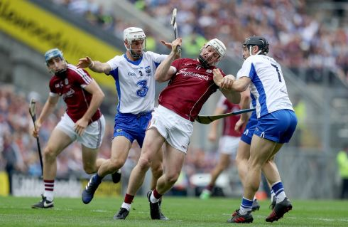 Galway's Joe Canning battles past Shane Fives and Philip Mahony of Waterford. Photo: Tommy Dickson/Inpho