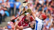 Galway's Conor Whelan and Jonathan Glynn challenge Barry Coughlan and Tadhg De Burca in the air during the All-Ireland SHC final. Photograph: Cathal Noonan/Inpho