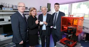 Prof Brian Meenan of  Ulster University, Invest NI's Tracy Meharg, Prof Jim McLaughlin of Ulster University and Stuart McGregor of Randox Laboratories at the opening of the university's new lab