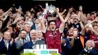 Galway's David Burke lifts the Liam McCarthy Cup after they beat Waterford to win the 2017 All-Ireland senior hurling championship title. Photo: Ryan Byrne/Inpho