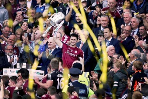 LIAM MACCARTHY CUP: Galway's Johnny Coen lifts the trophy after winning the All-Ireland Senior Hurling Championship Final against Waterford at Croke Park, Dublin. Photograph: Tommy Dickson/Inpho