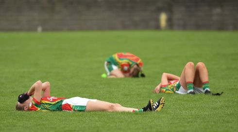 JUNIOR SEMI-FINAL: Carlow players are flat out after the TG4 Ladies Football All-Ireland Junior Championship Semi-Final match between Carlow and Derry at Lannleire in Dunleer, Co Louth. Photograph: Matt Browne/Sportsfile