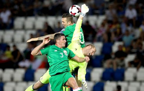 FIRST GOAL: Republic of Ireland's Shane Duffy scores the first goal of the match despite pressure from Georgia goalkeeper Giorgi Makaridze in the 2018 FIFA World Cup qualifier played at Boris Paichadze Dinamo Arena, Tbilisi, Georgia. Photograph: Ryan Byrne/Inpho