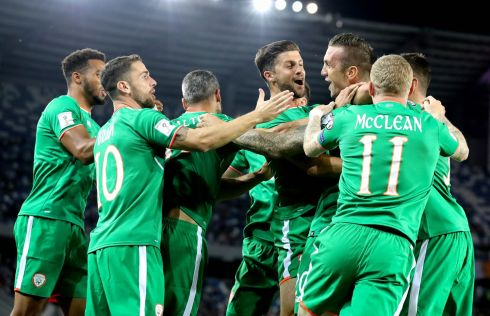 GEORGIA DRAW: Republic of Ireland's Shane Duffy celebrates scoring the first goal of the Fifa World Cup qualifier against Georgia at the Boris Paichadze Dinamo Arena in Tbilisi. Photograph: Ryan Byrne/Inpho