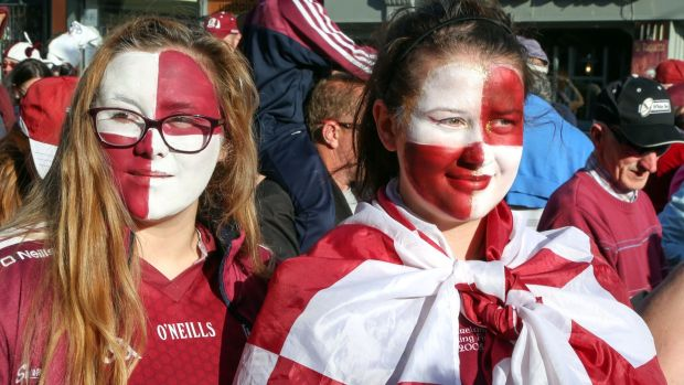 Galway supporters on Mainguard Street. Photograph: Joe O'Shaughnessy