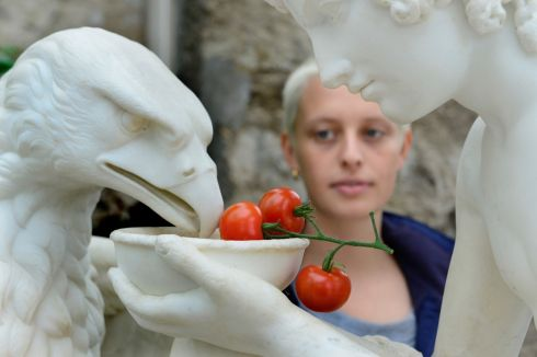 TERRIFIC TOMATO: Emily Powers, from Greystones, Co Wicklow, during the Totally Terrific Tomato Festival in the Orangery  at Kilruddery, Co Wicklow.  Photograph: Cyril Byrne/The Irish Times