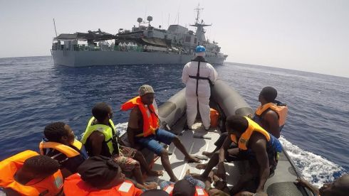 MEDITERREANEAN RESCUE: The LÉ William Butler Yeats rescues a group of migrants during two separate search-and-rescue operations in the Mediterranean. Photograph: Irish Defence Forces