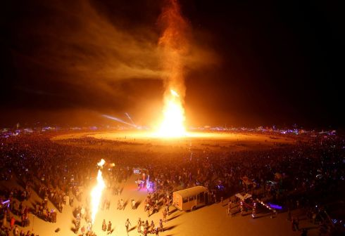 "BURN, MAN: The ""Man"" becomes engulfed in flames as about 70,000 people gather for the annual Burning Man arts and music festival in the Black Rock Desert of Nevada, US. September 2, 2017. Photograph: Jim Urquhart/Reuters"
