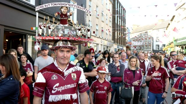 Philip Coleman with his hat made in memory of former Galway hurler the late Tony Keady, in Galway city. Photograph: Joe O'Shaughnessy