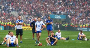 Dejected Waterford players and staff after their All-Ireland final defeat. Photograph: Cathal Noonan/Inpho