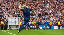 Micheál Donoghue: only when the final whistle went was the Galway manager swept up in the emotion of it all. Photograph: Sam Barnes/Sportsfile via Getty