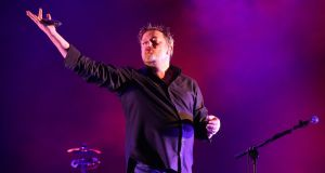 Guy Garvey of Elbow performing on the main stage near the close of  the Electric Picnic festival in Stradbally, Co Laois. Photograph: Niall Carson/PA Wire