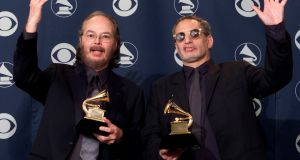 Walter Becker (L) and Donald Fagan with their Grammy for Best Pop Vocal Album for 'Two Against Nature' in  2001. Photograph: Sam Mircovich/Reuters