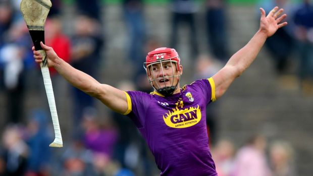 Lee Chin celebrates Wexford's win over Kilkenny. Photograph: James Crombie/Inpho
