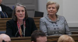 A privacy provision relating to misconduct inquires against judges was inserted into a draft of the Judicial Council Bill after the then Chief Justice Susan Denham contacted the then minister for justice Frances Fitzgerald (right) in 2015. Photograph: Gareth Chaney/Collins