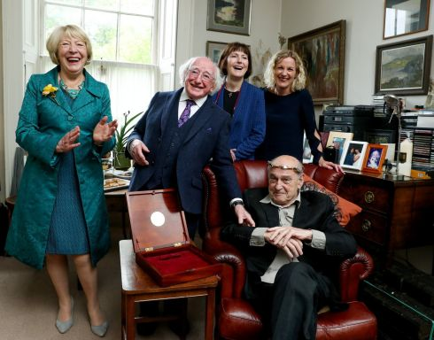 SAOI OF AOSDÁNA: The Torc, symbol of the Office of Saoi of Aosdána, is conferred on playwright Tom Murphy (seated) by President Michael D Higgins, pictured with the President's wife Sabina Higgins (left), Mr Murphy's wife actor Jane Brennan, and director of the Arts Council Orlaith McBride (right). Photograph: Maxwellphotography.ie