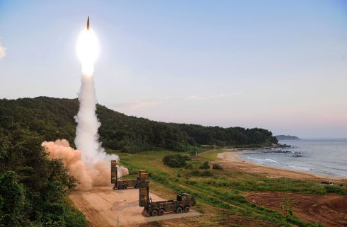 LIVE FIRE: A South Korean Hyunmu-2 ballistic missile is fired during a live-fire exercise in response to North Korea's sixth nuclear test the previous day. Photograph: South Korean Defense Ministry/Getty Images