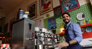 Eric Levy, barista at Foam cafe in Strand Street Great, in Dublin, who will taking part in Free Coffee Day, supporting independent business. Photograph: Dara Mac Dónaill / The Irish Times
