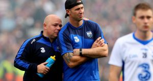 A dejected Waterford's manager Derek McGrath and selector Dan Shanahan after the defeat in Croke Park. Photograph: James Crombie/Inpho