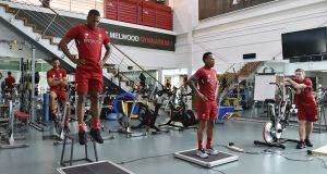 Daniel Sturridge and Nathaniel Clyne of Liverpool during a pre-season training session at Melwood. Photograph: Getty Images