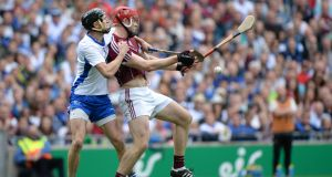 Waterford's Barry Coughlan gets to grips with Jonathan Glynn during the All-Ireland final at Croke Park. Photograph: Dara Mac Dónaill