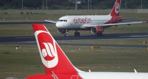 Air Berlin's assets include about 140 leased aircraft and valuable take-off and landing slots in Germany. Photograph: Reuters/Fabrizio Bensch