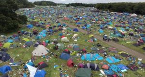 Electric Picnic: apparently abandoned tents in Stradbally. Photograph: James Flynn/APX
